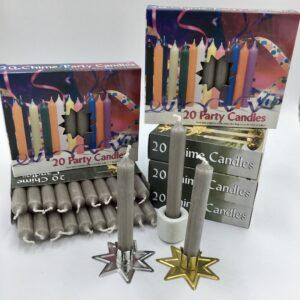 Gray grey box of 20 mini candles
