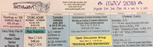 May Calendar header picture gemstone classes, trunk show, jewelry