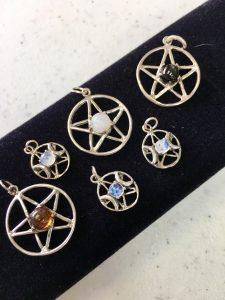 sterling silver pagan jewelry pentagrams