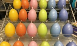 multi colored egg candles
