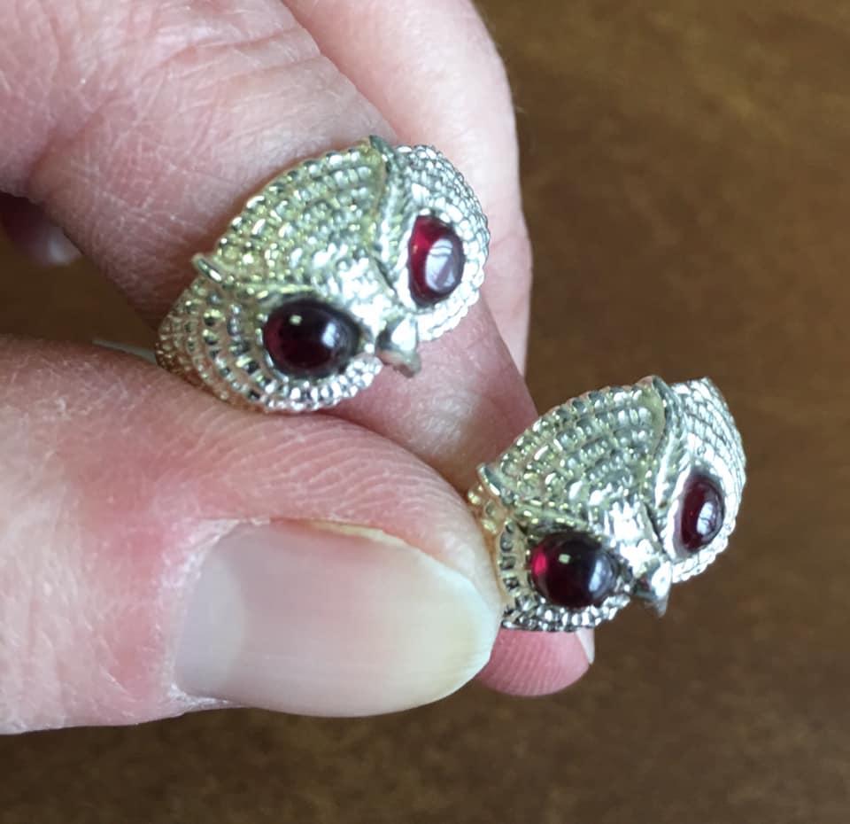 owl rings garnet eyes